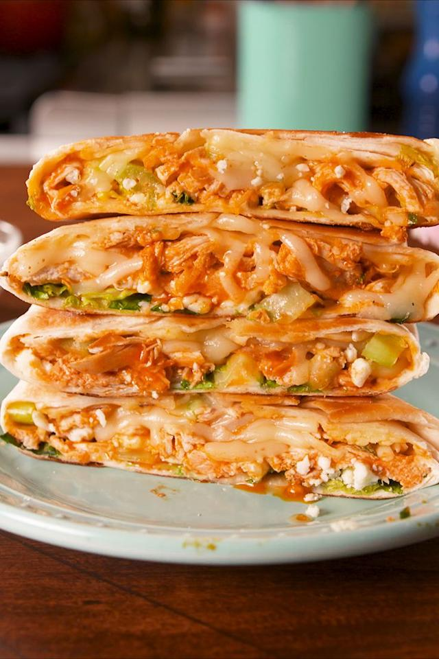 "<p>Buffalo chicken is love.</p><p>Get the recipe from <a rel=""nofollow"" href=""https://www.delish.com/cooking/recipe-ideas/recipes/a58636/buffalo-chicken-crunchwrap-recipe/"">Delish</a>.</p><p><strong><em>BUY NOW: Le Creuset Cast Iron Skillet, $199.95, <a rel=""nofollow"" href=""https://www.amazon.com/Creuset-Signature-Handle-Skillet-4-Inch/dp/B00B4UOTBQ/?tag=delish_auto-append-20&ascsubtag=[artid