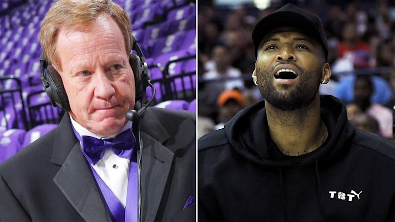 Pictured here, former Sacramento Kings caller Grant Napear and NBA star DeMarcus Cousins.