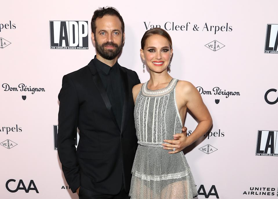 LOS ANGELES, CALIFORNIA - OCTOBER 19: Benjamin Millepied and Actress Natalie Portman attend the 2019 LA Dance Project Gala, Cocktail Hour Hosted by Dom Pérignon at Hauser & Wirth on October 19, 2019 in Los Angeles, California. (Photo by Jerritt Clark/Getty Images for Dom Pérignon)