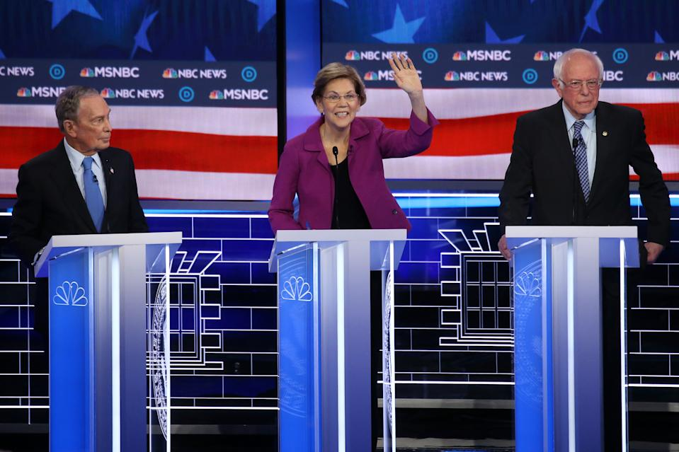 Democratic presidential candidates (L-R) former New York City Mayor Mike Bloomberg,  a Sen. Elizabeth Warren (D-MA),  and Sen. Bernie Sanders (I-VT) participate in the Democratic presidential primary debate at Paris Las Vegas on February 19, 2020 in Las Vegas, Nevada. (Mario Tama/Getty Images)