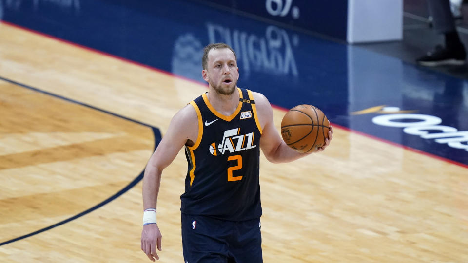 Utah Jazz forward Joe Ingles (2) moves the ball up court in the second half of an NBA basketball game against the New Orleans Pelicans in New Orleans, Monday, March 1, 2021. The Pelicans won 129-124. (AP Photo/Gerald Herbert)