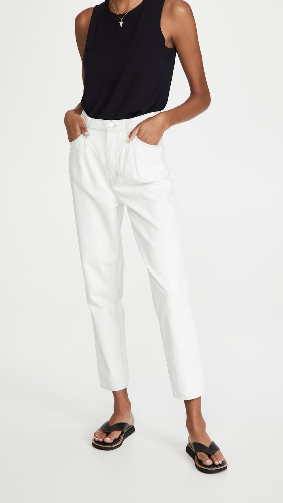 "<p>These <a href=""https://www.popsugar.com/buy/J-Brand-Pleat-Front-Peg-Jeans-585702?p_name=J%20Brand%20Pleat%20Front%20Peg%20Jeans&retailer=shopbop.com&pid=585702&price=248&evar1=fab%3Aus&evar9=45615413&evar98=https%3A%2F%2Fwww.popsugar.com%2Ffashion%2Fphoto-gallery%2F45615413%2Fimage%2F47583284%2FJ-Brand-Pleat-Front-Peg-Jeans&list1=shopping%2Cdenim%2Cwinter%2Cwinter%20fashion&prop13=mobile&pdata=1"" class=""link rapid-noclick-resp"" rel=""nofollow noopener"" target=""_blank"" data-ylk=""slk:J Brand Pleat Front Peg Jeans"">J Brand Pleat Front Peg Jeans</a> ($248) are a comfy choice.</p>"