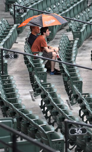 Fans wait out a rain delay before a baseball game between the Baltimore Orioles and the Cleveland Indians on Wednesday, June 26, 2013, in Baltimore. (AP Photo/Gail Burton)
