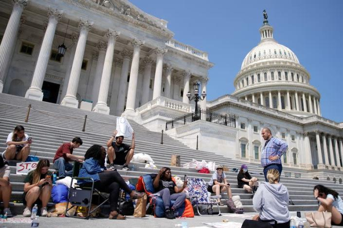 U.S. Rep. Cori Bush holds a live streaming from the steps of the U.S. Capitol