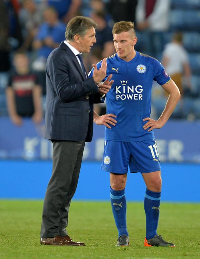 "Soccer Football - Premier League - Leicester City vs Southampton - King Power Stadium, Leicester, Britain - April 19, 2018 Leicester City manager Claude Puel and Marc Albrighton after the match REUTERS/Peter Powell EDITORIAL USE ONLY. No use with unauthorized audio, video, data, fixture lists, club/league logos or ""live"" services. Online in-match use limited to 75 images, no video emulation. No use in betting, games or single club/league/player publications. Please contact your account representative for further details."