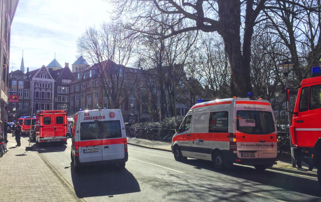<p>Ambulances stand in downtown Muenster, Germany, Saturday, April 7, 2018. (Photo: dpa via AP) </p>