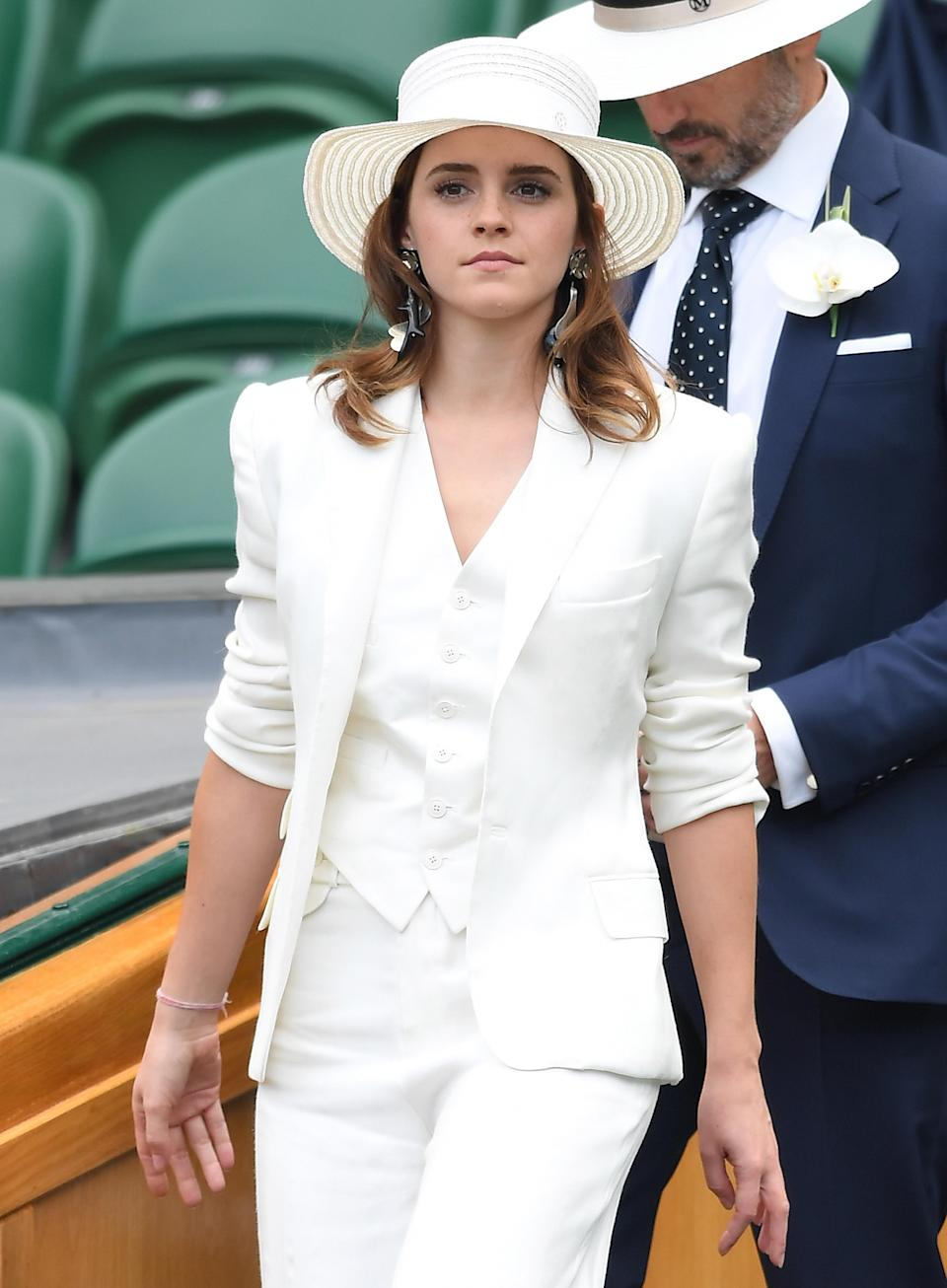 Emma Watson attends day 12 of the Wimbledon Tennis Championships at the All England Lawn Tennis and Croquet Club in London, 2018. (Photo: Karwai Tang/WireImage)