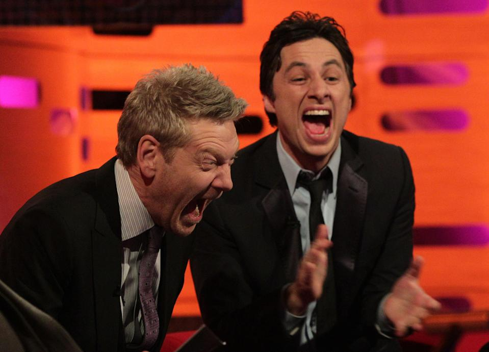 Guests Kenneth Branagh (left) and Zach Braff during filming of The Graham Norton Show at The London Studios in south London. (Photo by Yui Mok/PA Images via Getty Images)