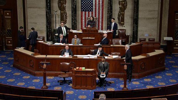 PHOTO: The House of Representatives discusses the resolution to transmit articles of impeachment against President Donald Trump to the Senate, in Washington, Jan. 15, 2020. (ABC News)