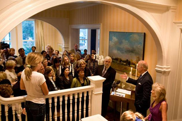 Vice President Joe Biden speaks at a reception commemorating the 15th anniversary of the passage of the Violence against Women Act, at the Naval Observatory, Tuesday, September 29, 2009.  Official White House Photo by David Lienemann
