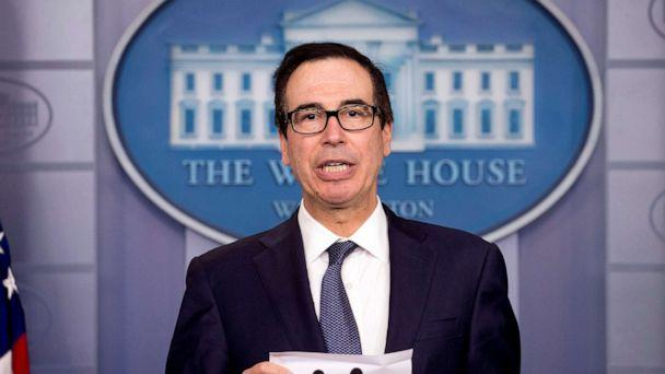PHOTO: Treasury Secretary Steven Mnuchin speaks in the Briefing Room of the White House in Washington, Oct. 11, 2019. (Andrew Harnik/AP)