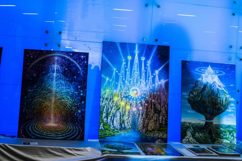 Artwork on display at the Ufology World Congress 2019 in Barcelona, Spain. (Photo: José Colon for Yahoo News)
