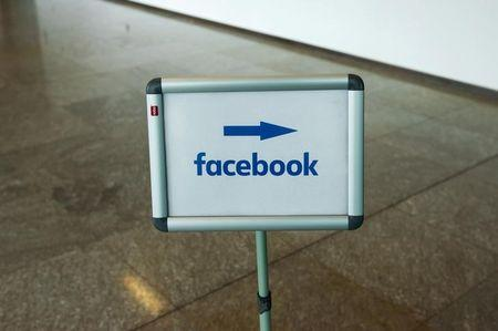 Picture shows Facebook logo at Facebook office in Berlin