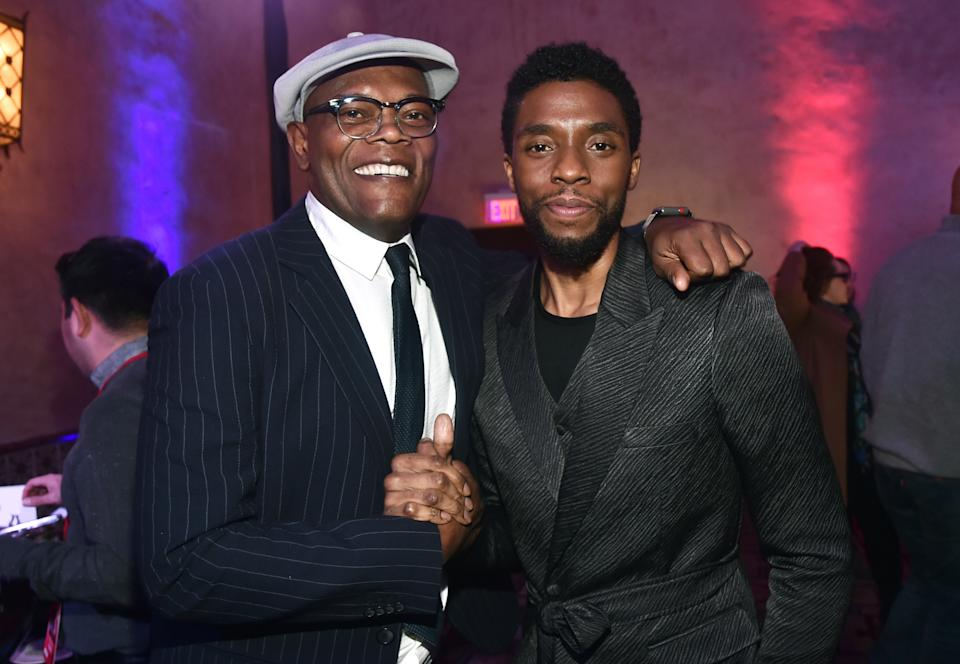 "Samuel L. Jackson recalls the last time he saw Chadwick Boseman at the Los Angeles World Premiere ""Captain marvel"" On March 4, 2019.  (Photo: Getty Images)"