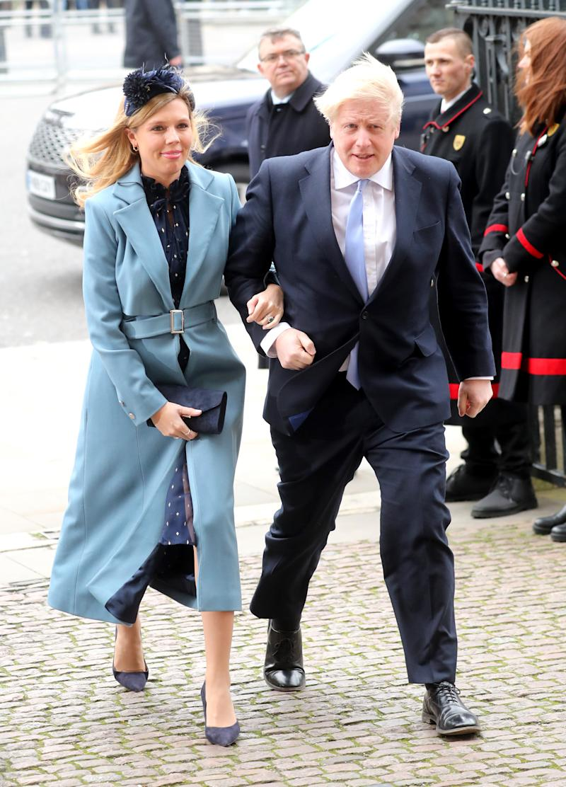 Carrie Symonds wears Isabelle Fox blue coat