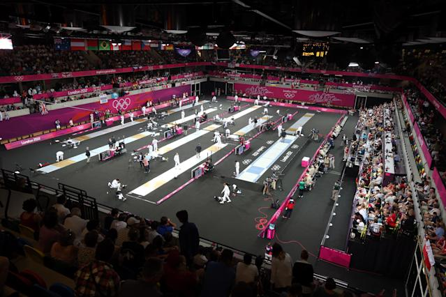 The fencing stage of the Modern Pentathlon at the Copper Box in 2012.