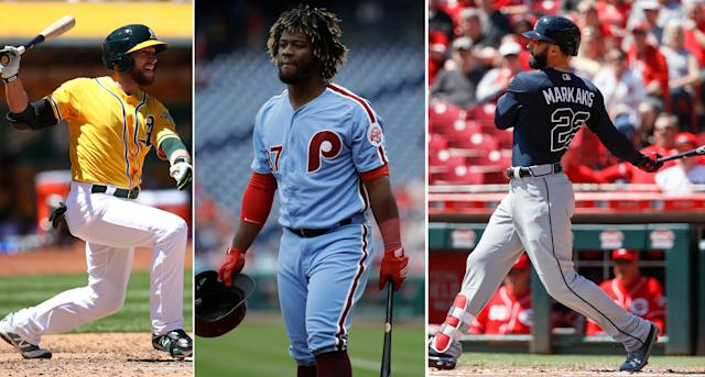 Jed Lowrie, Odubel Herrera and Nick Markakis are all worthy of your All-Star vote. (AP)
