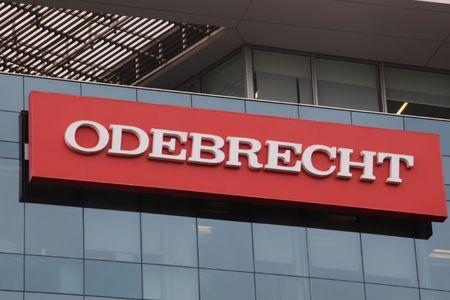 A sign of the Odebrecht Brazilian construction conglomerate is seen at their headquarters in Lima.