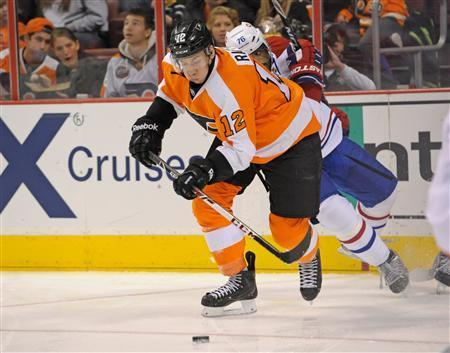 Philadelphia Flyers left wing Michael Raffl (12) controls the puck against Montreal Canadiens defenseman P.K. Subban (76) during the second period at Wells Fargo Center. Eric Hartline-USA TODAY Sports