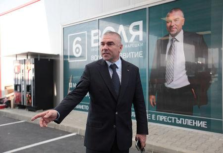 Veselin Mareshki, leader of Will party, reacts at the opening of his petrol station in Sofia
