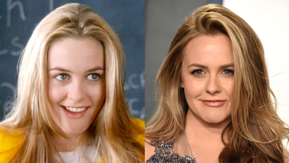 Alicia Silverstone in 'Clueless' and in 2020. (Credit: Paramount/CBS/John Shearer/Getty Images)