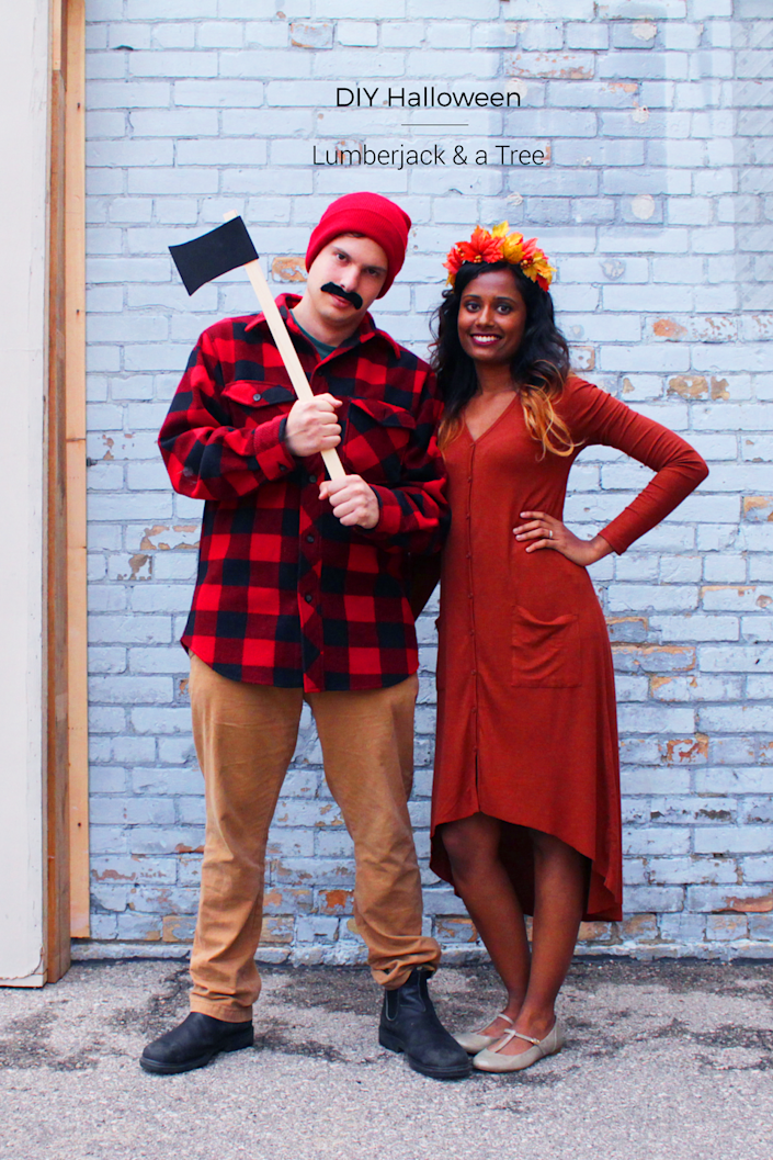 """<p>For an inexpensive costume, whip up this idea with items you may already have at home. For the lumberjack, grab a flannel shirt, boots, hat, and ax, and for the tree pick a long dress and make a super-simple flower crown!</p><p><strong>Get the tutorial at <a href=""""https://fishandbull.com/diy-halloween-couples-costume-lumberjack-a-tree/"""" rel=""""nofollow noopener"""" target=""""_blank"""" data-ylk=""""slk:Fish & Bull"""" class=""""link rapid-noclick-resp"""">Fish & Bull</a>.</strong></p><p><a class=""""link rapid-noclick-resp"""" href=""""https://www.amazon.com/Moon-Boat-500PCS-Artificial-Decorations/dp/B076CD95WM/ref=sr_1_1_sspa?tag=syn-yahoo-20&ascsubtag=%5Bartid%7C10050.g.4616%5Bsrc%7Cyahoo-us"""" rel=""""nofollow noopener"""" target=""""_blank"""" data-ylk=""""slk:Shop Faux Leaves"""">Shop Faux Leaves</a><strong><br></strong><strong><br></strong></p>"""