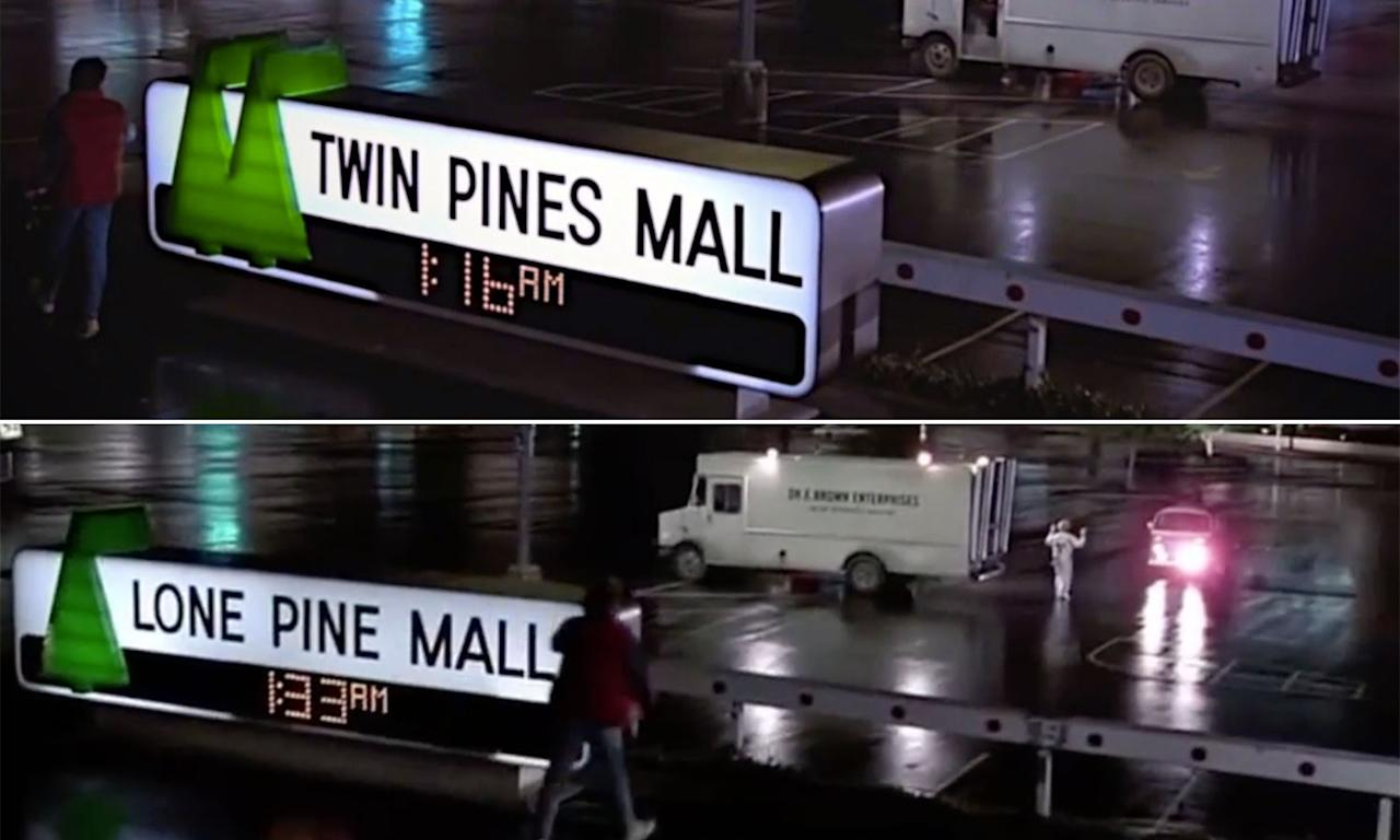 """<p>When Marty first travels back to 1955 while being chased by Libyan terrorists at the Twin Pine Malls in 1985, he accidentally destroys a tree on the historic site of the mall. When we later revisit the same scene, we learn how his actions have altered history when the mall is renamed """"Lone Pine Mall"""". Subtle, but smart. </p>"""
