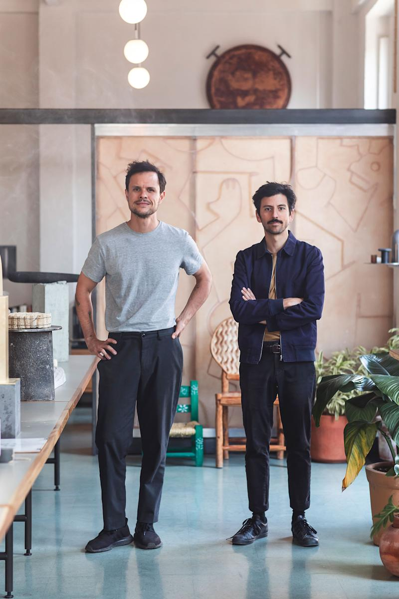 """Founded in 2015 by Mexican architects Lucas Cantú (above left) and Carlos Matos, Tezontle is named after the indigenous volcanic rock used for construction since the Aztec era. The duo work at the intersection of art, design, and architecture, much like their predecessors Diego Rivera, Luis Barragán, and Mathias Goeritz. Totem-like sculptures and furnishings showcase material experiments, while ground-up residences in Oaxaca and Quintana Roo suggest a more elemental approach to living. Endlessly inspired by their neighborhood, Centro Histórico (a bustling city center, home to many hardware stores, built atop the Aztec city Tenochtitlán), their work melds pre-Columbian aesthetics with contemporary material culture. """"We see Mexico City as an archaeological site that is still being unearthed,"""" says Matos. instagram.com/__tezontle_"""