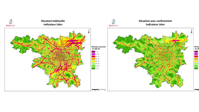 """This graph provided by BruitParif on Thursday, March 26, 2020, shows the measure of noise pollution before and after the confinement due to the coronavirus outbreak. The confinement measures in and around Paris have unsurprisingly had an impact in reducing the French capital's noise pollution levels. Some 150 monitoring stations around Paris and its suburbs, has recorded an """"unusual silence"""" following the lockdown's implementation Tuesday of last week. The new coronavirus causes mild or moderate symptoms for most people, but for some, especially older adults and people with existing health problems, it can cause more severe illness or death. (BruitParis via AP)"""