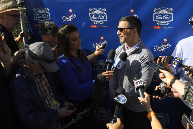 Los Angeles Dodgers president of baseball operations, Andrew Friedman, is interviewed by reporters during Dodger Stadium FanFest Saturday, Jan. 25, 2020, in Los Angeles. (AP Photo/Mark J. Terrill)