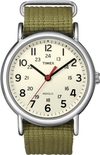 """<p><strong>Timex</strong></p><p>amazon.com</p><p><strong>$30.55</strong></p><p><a href=""""http://www.amazon.com/dp/B004VR9HP2/?tag=syn-yahoo-20&ascsubtag=%5Bartid%7C10051.g.28376042%5Bsrc%7Cyahoo-us"""" target=""""_blank"""">Shop Now</a></p><p>This watch might be the most affordable brand on our list, but it boasts some major clout. Their weekender style is basically the Patagonia of the watch world: beloved by all, and somehow guys who wear them always look really hot. Their styles rarely cost more than $75, and you can buy multiple straps to change up your look. </p>"""