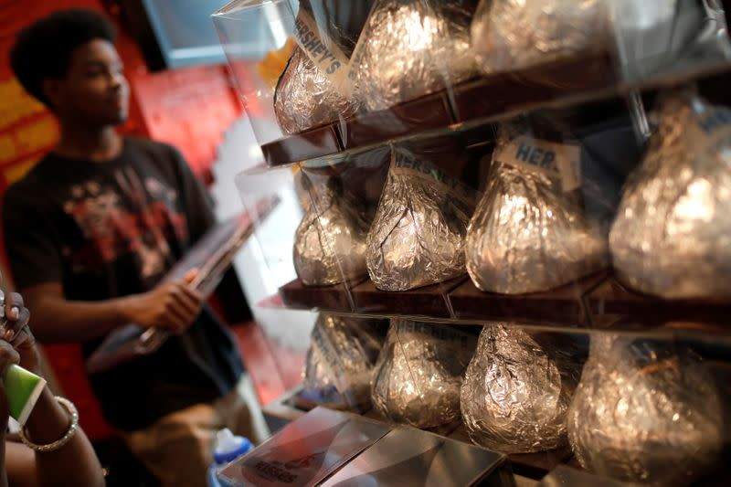 FILE PHOTO: Giant Hershey's Kiss chocolates are seen on display in a shop in New York City