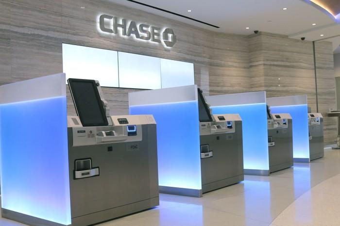 Interior of a modern Chase banking branch.