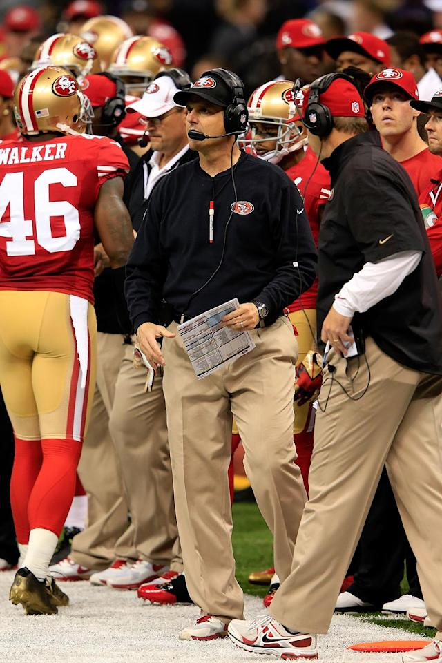 Head coach Jim Harbaugh of the San Francisco 49ers looks on from the sideline while taking on the Baltimore Ravens during Super Bowl XLVII at the Mercedes-Benz Superdome on February 3, 2013 in New Orleans, Louisiana. (Photo by Jamie Squire/Getty Images)