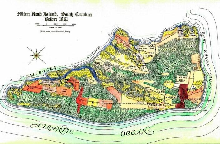 """In 1861, nearly all of Hilton Head Island was covered by plantations worked by slaves, according to maps from The Heritage Library and Beaufort County historians. Today, all gated communities sit on pieces of land that once operated as plantations, although few still publicly use the name. A petition to remove the word """"plantation"""" from community signage has garnered over 4,500 signatures."""