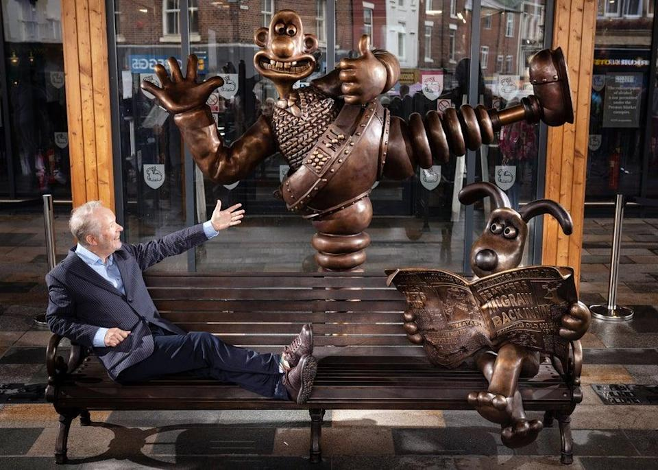 Nick Park, creator of Wallace and Gromit, Aardman Animations, at the unveiling of a bronze Wallace and Gromit bench sculpture, in Preston. (Danny Lawson/PA) (PA Wire)