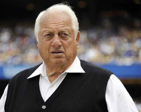Tommy Lasorda at Dodger Stadium during the 2011 season.