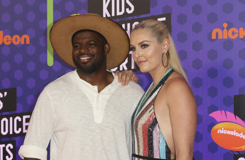 NHL hockey player P. K. Subban, of the Nashville Predators, left, and skier Lindsey Vonn arrive at the Kids' Choice Sports Awards at the Barker Hangar on Thursday, July 19, 2018, in Santa Monica, Calif. (Photo by Willy Sanjuan/Invision/AP)
