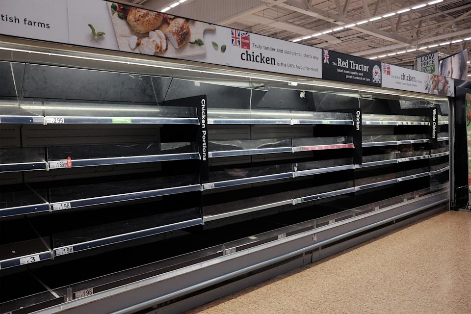 Empty shelves in the meat and chicken aisles of an Asda store in London. PA Photo. Picture date: Saturday March 14, 2020. Photo credit should read: Yui Mok/PA Wire (Photo by Yui Mok/PA Images via Getty Images)