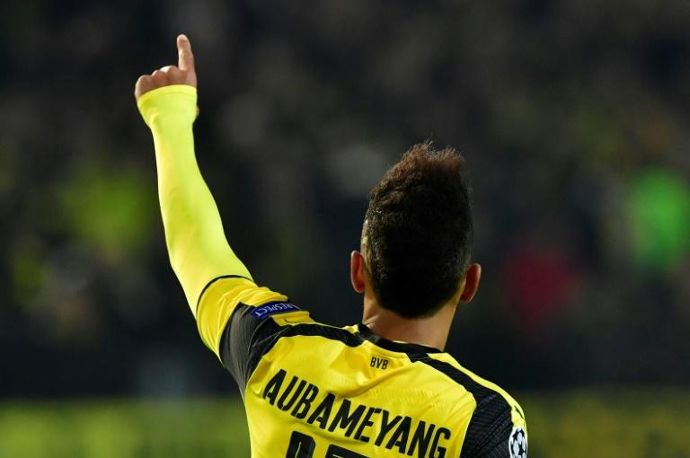 Dortmund forward Pierre-Emerick Aubameyang celebrates after scoring a hat-trick against Benfica in their Champions League match in western Germany, on March 8, 2017