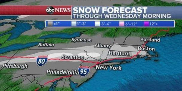 PHOTO: Ground surfaces are likely to be too warm to see any significant accumulations, however conditions will likely be unfavorable for travel. (ABC News)
