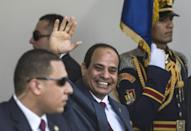 Egypt's President Abdelfattah al-Sisi at a ceremony for the opening of a second lane and widening of the Suez Canal in August 2015, a project that cost over $8 billion