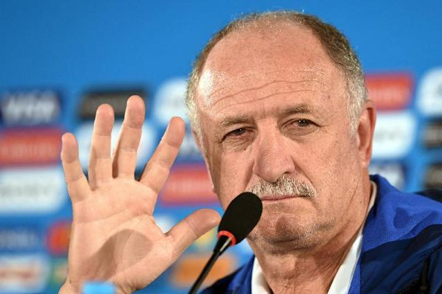 Brazil's coach Luiz Felipe Scolari gives a press conference at the Mane Garrincha National Stadium in Brasilia on July 11, 2014 (AFP Photo/Evaristo Sa)