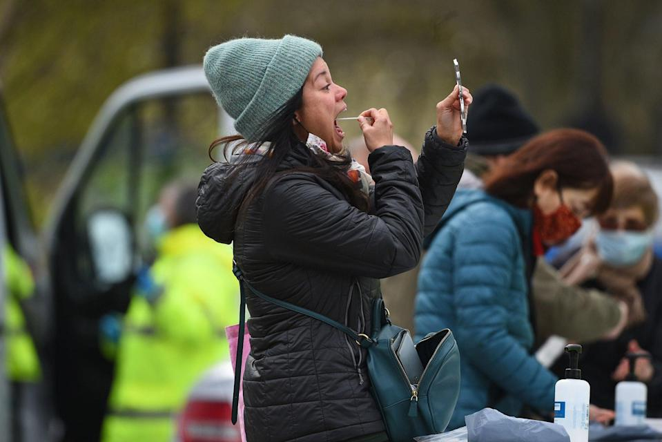 <p>Residents in Clapham were urged to get tested after the South African variant was found there two weeks ago</p> (PA)