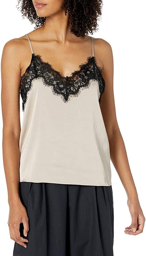 <p>This gorgeous <span>The Drop Natalie V-Neck Lace Trimmed Camisole Tank Top</span> ($35) comes in many colors.</p>