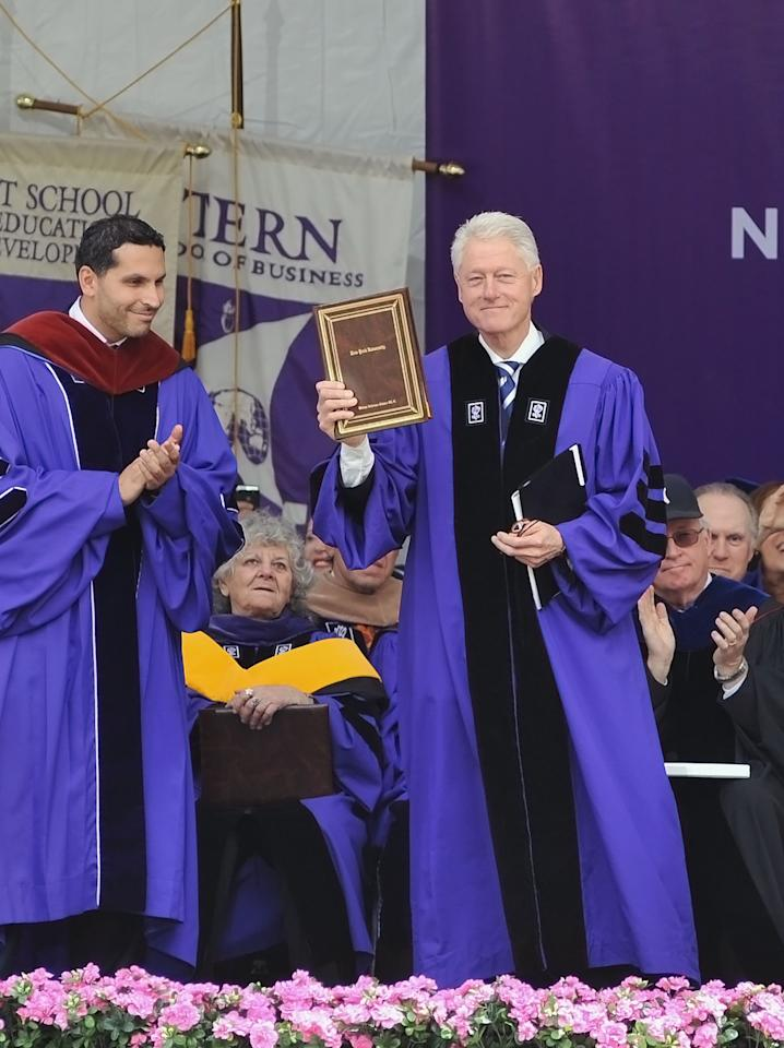 NEW YORK, NY - MAY 18:  Former President Bill Clinton attends the 2011 New York University commencement at Yankee Stadium on May 18, 2011 in New York City.  (Photo by Slaven Vlasic/Getty Images)