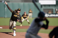 San Diego Padres starting pitcher Chris Paddack works against the San Francisco Giants during the first inning of the first game of a baseball doubleheader Friday, Sept. 25, 2020, in San Francisco. (AP Photo/Tony Avelar)
