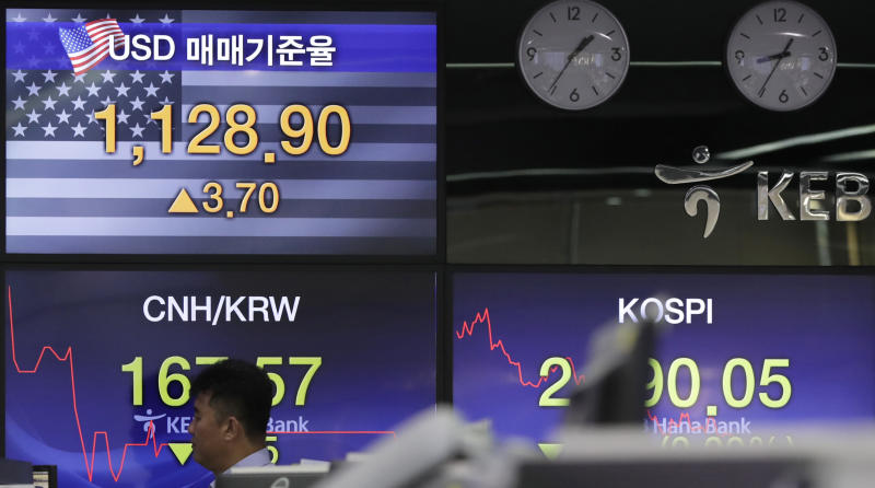 A bank employee walks by screens showing the Korea Composite Stock Price Index (KOSPI), right, and the foreign exchange rate between U.S. dollar and South Korean won at the foreign exchange dealing room in Seoul, South Korea, Thursday, July 19, 2018. Asian stock markets drifted without a clear direction on Thursday while investors wait and see further developments on global trade disputes. (AP Photo/Lee Jin-man)