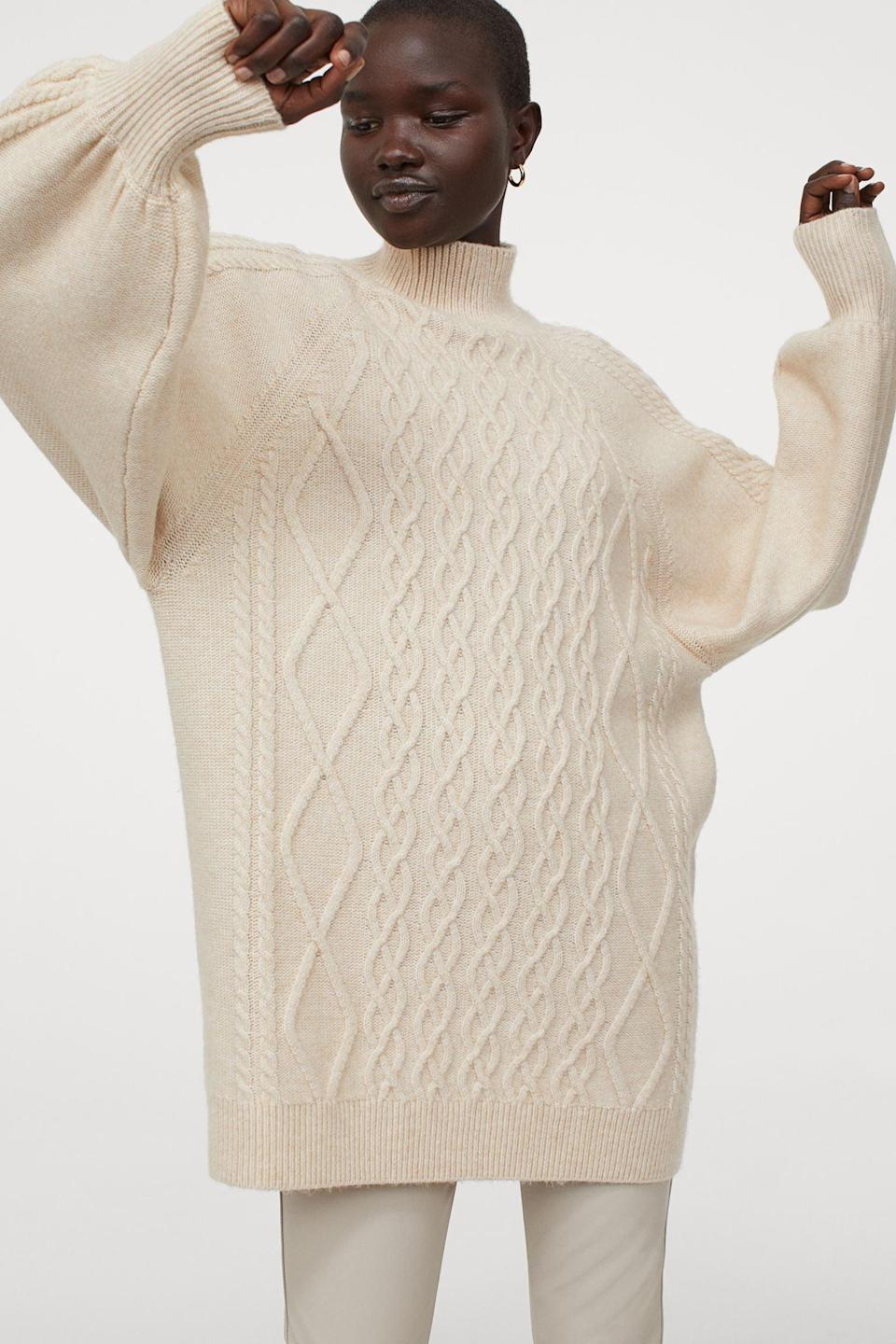 <p>You can also wear this <span>Cable-Knit Sweater</span> ($30) as a dress.</p>