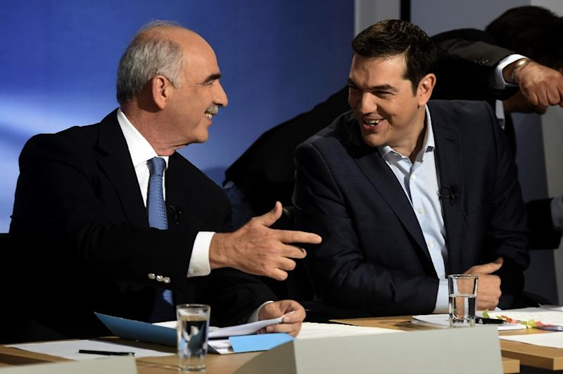 Syriza leader Alexis Tsipras (R) and his New Democracy counterpart Vangelis Meimarakis are the two leading contenders in Sunday's election (AFP Photo/Aris Messinis)